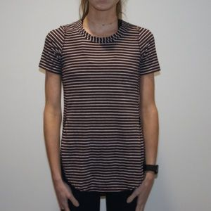 Lululemon maroon and white striped T-shirt
